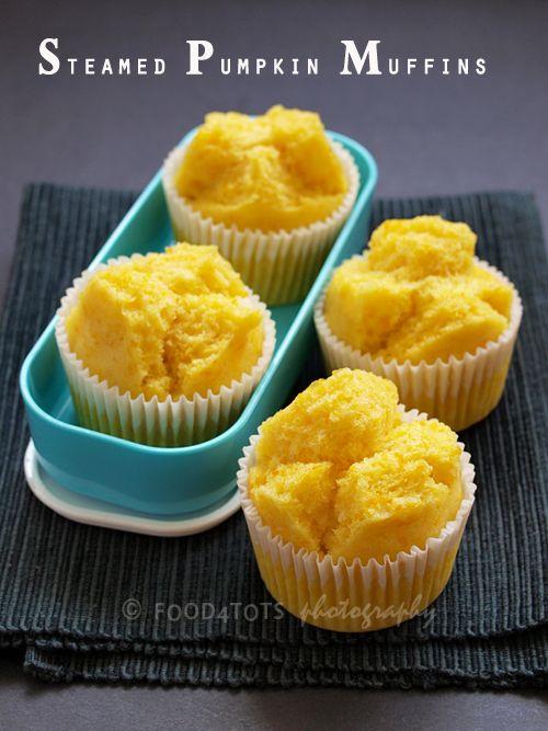 steamed pumpkin muffins, pumpkin muffins, toddler, food for kids, snack, steamed cake, steamed bread, Japanese, mushipan