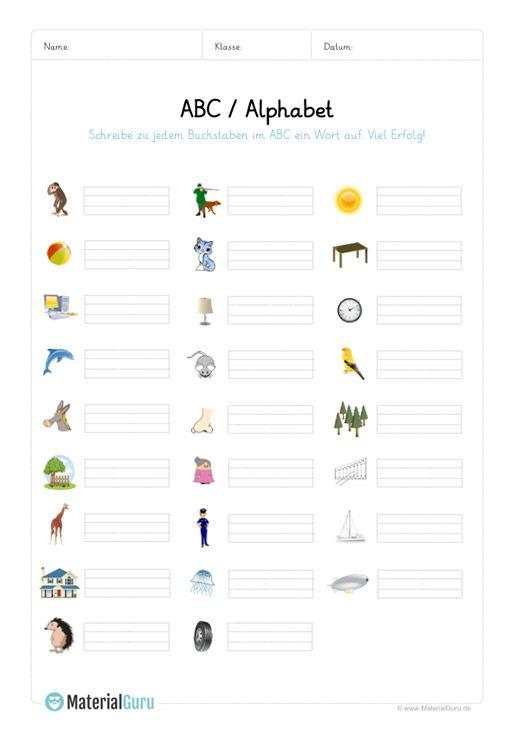 ein kostenloses arbeitsblatt auf dem die sch ler zu jedem buchstaben im abc alphabet ein wort. Black Bedroom Furniture Sets. Home Design Ideas