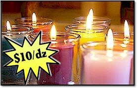 Cheap Candles | Unscented Candles made in the USA 12-15 hr votives. They have teal and plum!