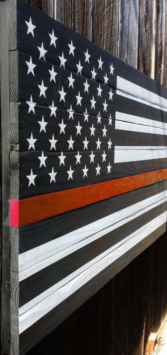Thin Red Line American Wood Flag by WestCoastPatriot on Etsy