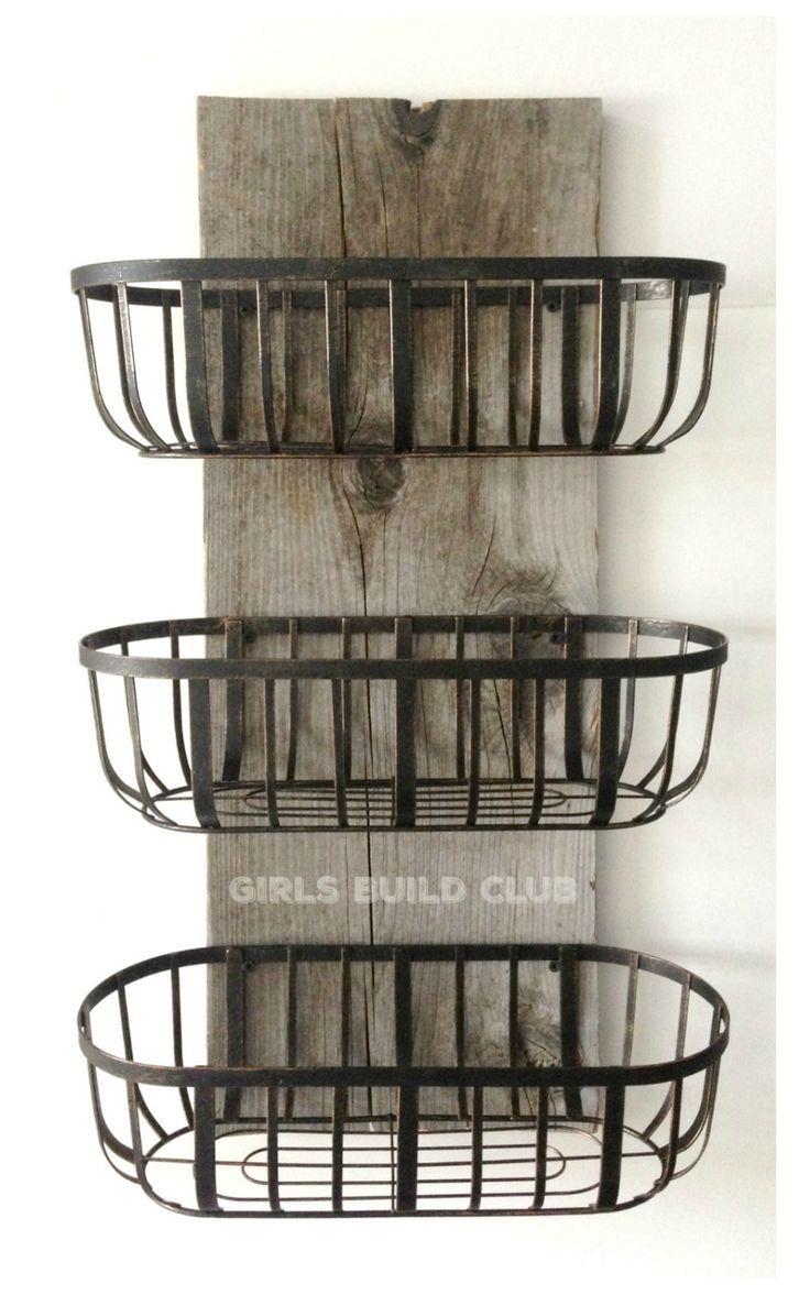 Wire Baskets Organizer Diy Diy Rustic Decor Country Farmhouse