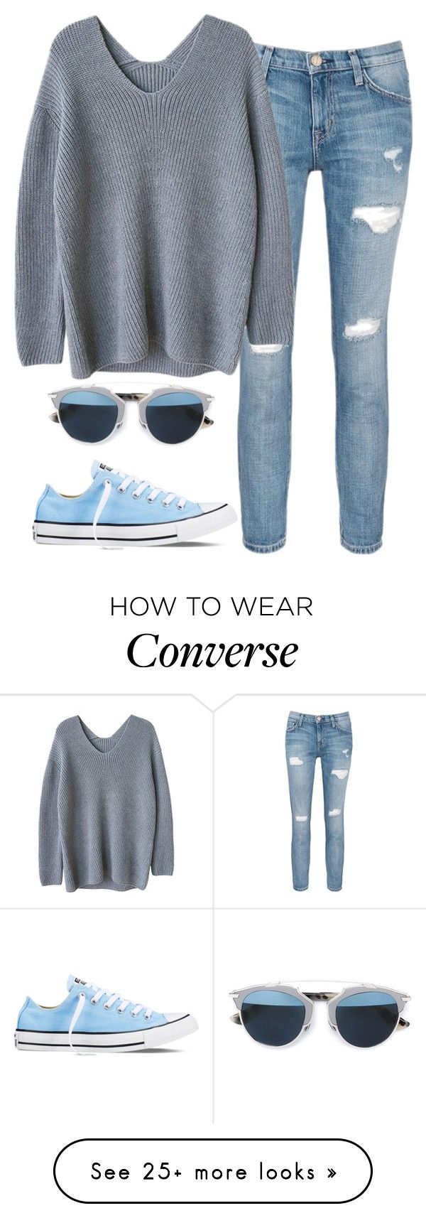 """Blue dayz!"" by hanny-vandy on Polyvore featuring Current/Elliott, Converse, Christian Dior, women's clothing, women's fashion, women, female, woman, misses and juniors"