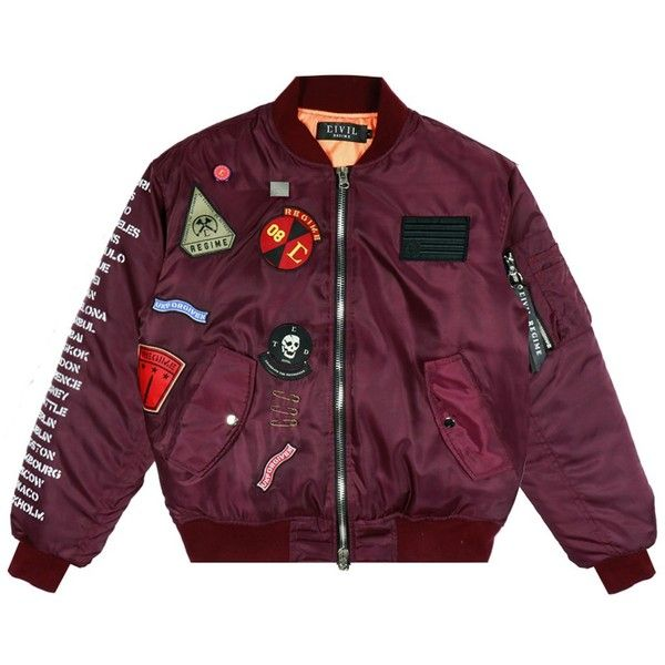Rebel Tour MA-1 Bomber Jacket in Maroon ($150) ❤ liked on Polyvore featuring outerwear, jackets, purple jacket, blouson jacket, bomber jacket, maroon bomber jacket and flight jacket