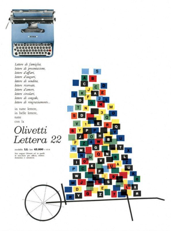 Locandina pubblicitaria di Giovanni Pintori, graphic designer, per la macchina per scrivere portatile Lettera 22, pubblicata su riviste e quotidiani italiani nel 1958 e nel 1959.