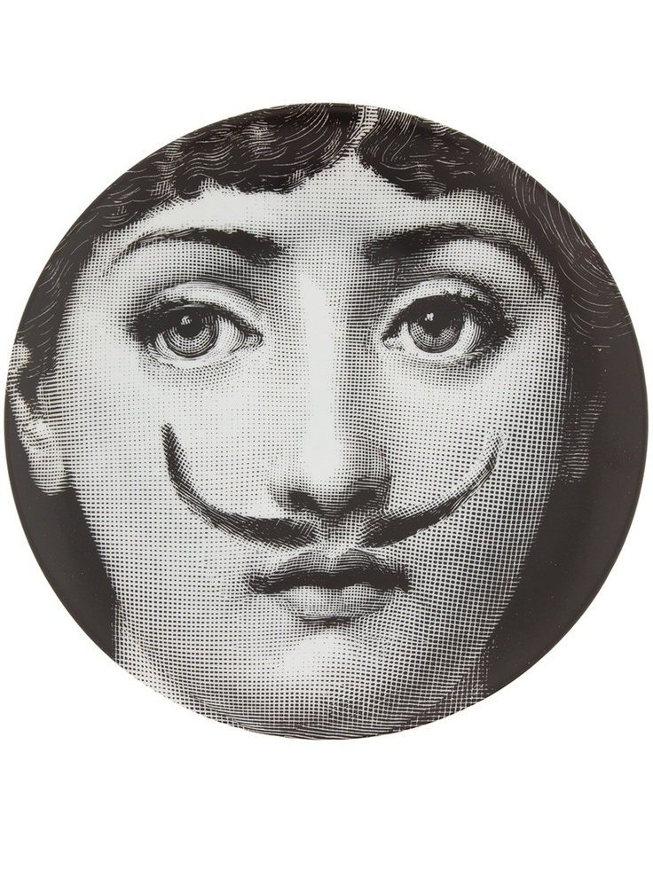 fornasetti plate sold out printed black and white porcelain plate from fornasetti featuring a womanu0027s face with a moustache
