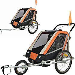 Suspension Children Bicycle Trailer & Jogger Combo Orange