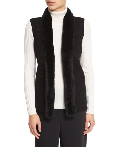 Magaschoni+Rabbit+Fur+Trimmed+Ribbed+Sweater+Vest+Black+|+Clothing