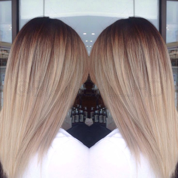 Cool blonde tones balayage ombre melt technique dark roots ...