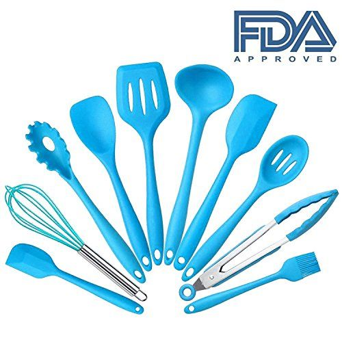 10Pcs/set Silicone Heat Resistant Kitchen Cooking Utensils Non-Stick Baking Tool tongs ladle gadget by BonBon (Blue)