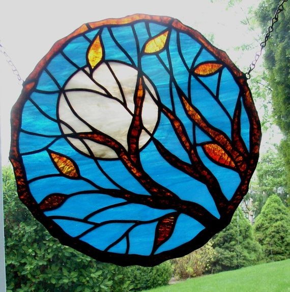 Stained glass suncatcher  Moon Through the by RockinMosaics, $110.00