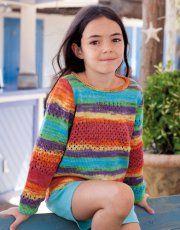 Rivista Bambini  Casual 65 Primavera / Estate | 5: Bambini Maglione - Maglia | Rosso-Arancione-Giallo-Viola-Verde-Turchese