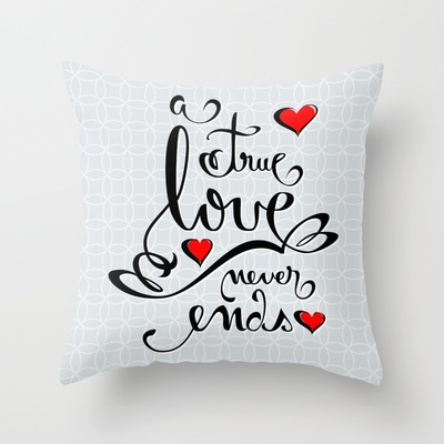 Valentine Love Calligraphy and Hearts Throw Pillow by Ruxique - $20.00