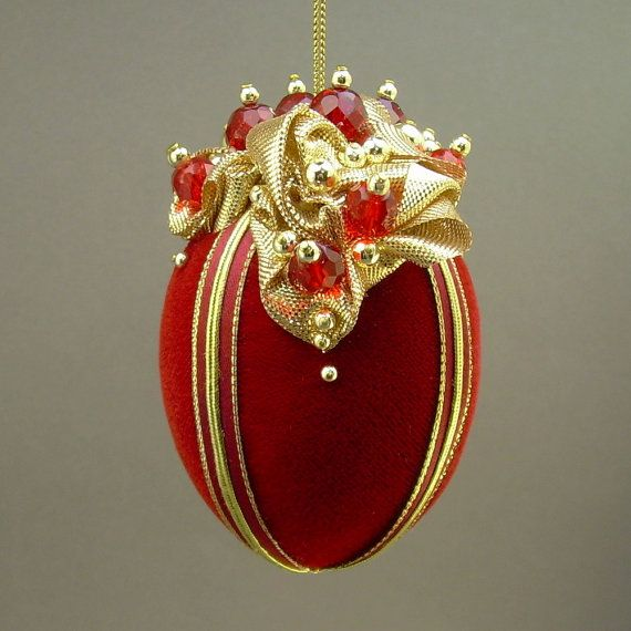 """""""On the Rocks"""" Red Velvet Egg Christmas Ornament by Towers And Turrets"""