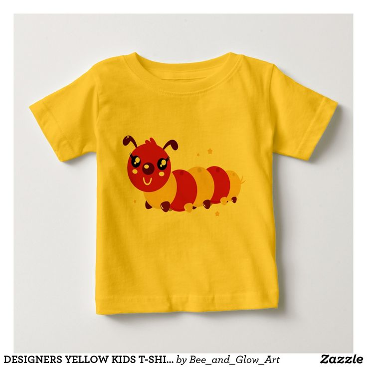 DESIGNERS YELLOW KIDS T-SHIRT WITH SUPERCUTE WORM