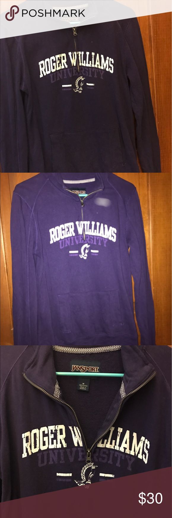 Half Zip Sweatshirt This is a purple Roger Williams university half zip hoodie. Women's size Medium. Only worn once and it doesn't fit anymore. Perfect condition, make me an offer. Sweaters