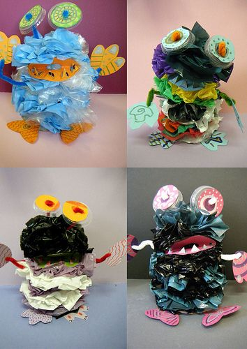 Plastic bag monsters. Gloucestershire Resource Centre http://www.grcltd.org/scrapstore/