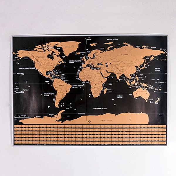 Scratch Off World Map Poster with Country Flags and Boundary Home Office Decor Education Supplies