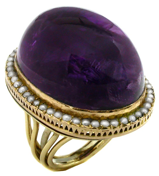 Victorian Amethyst Seed Pearl 14k Gold Ring