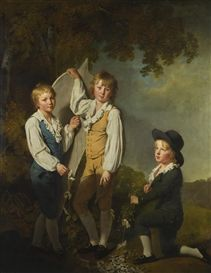 THE THREE ELDEST CHILDREN OF RICHARD ARKWRIGHT WITH A KITE by Joseph Wright of Derby