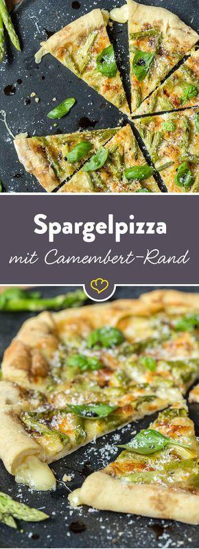 Hier wird der Pizzarand zum Star und am liebsten als erstes verputzt. Denn im Inneren verbirgt sich schmelzender Camembert, der perfekt zum Spargel passt.