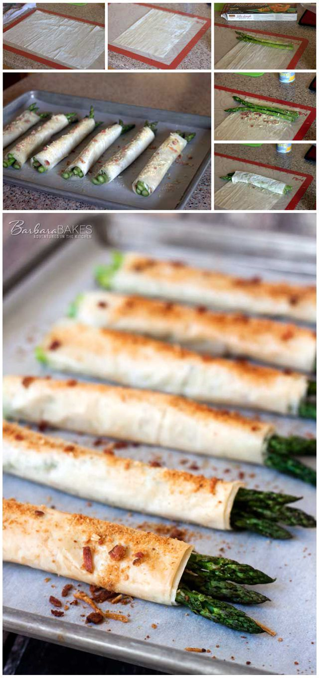 Phyllo, Parmesan, Bacon Asparagus Bundles - Tender asparagus sprinkled with bread crumbs, Parmesan cheese, and bacon wrapped in phyllo dough and baked until it's crispy and golden brown.