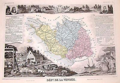 """Levasseur's Hand Colored Engraved Map - """"DEPARTMENT DE LA VENDEE"""" - 1856"""