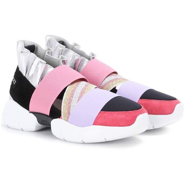 Emilio Pucci Suede Sneakers ($505) ❤ liked on Polyvore featuring shoes, sneakers, pink, pink shoes, suede trainers, emilio pucci sneakers, pink suede shoes and pink sneakers
