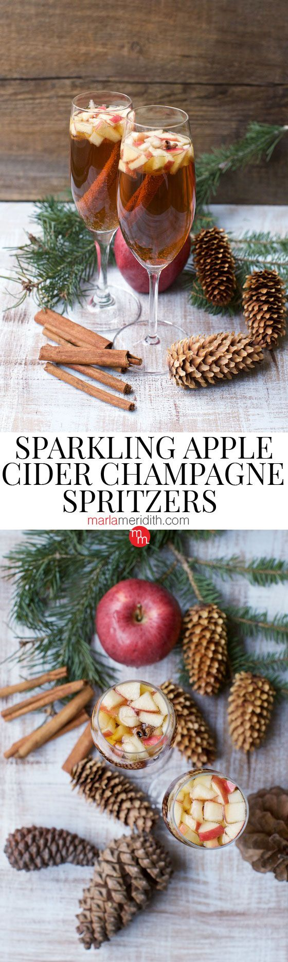 Sparkling Apple Cider Champagne Spritzers recipe. The only cocktail you need for the holidays! MarlaMeridith.com #champagne #cocktail #recipe