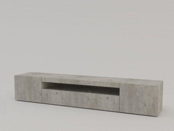 Meuble TV design anthracite laqué à Led 3 portes Daiquiri 200 cm