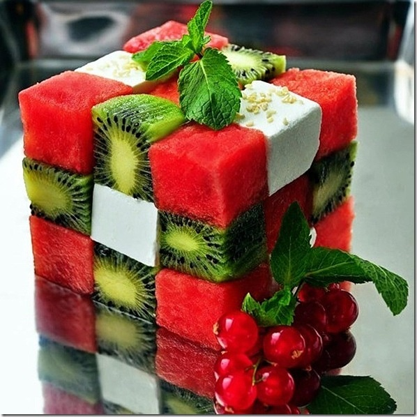 Fruit and cheese rubiks cube! healthy dessert!: