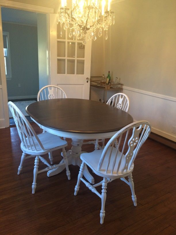 Basic white with shades of brown top and distressed vintage painted dining room table chair - Painted dining tables distressed ...