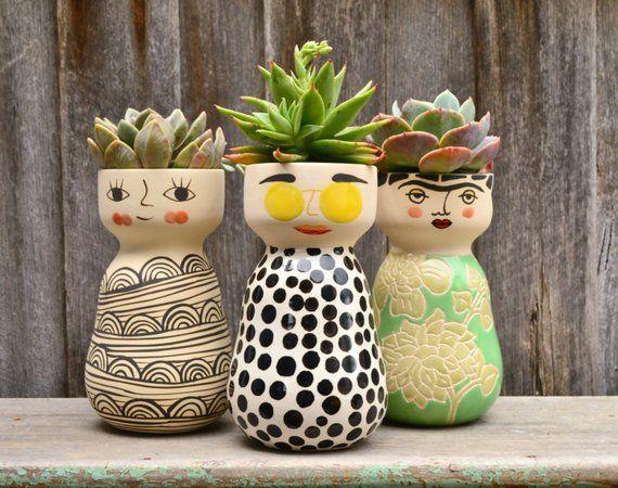Handmade Quirky Minky Cat White Black Tall Plant Etsy Handmade Ceramics Face Planters Planters