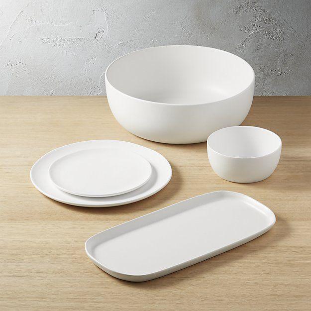 Crisp Matte White Dinnerware Cb2 White Dinnerware Dinnerware Matte Dinnerware