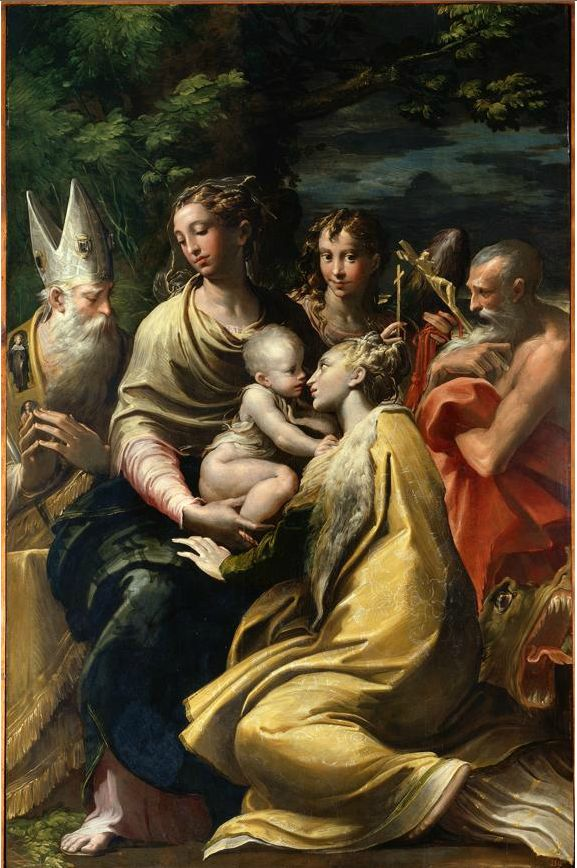 Parmigianino: Madonna and Child with Saint Margaret and Other Saints (1528; oil on wood, 222 x 147 cm; Pinacoteca Nazionale, Bologna)