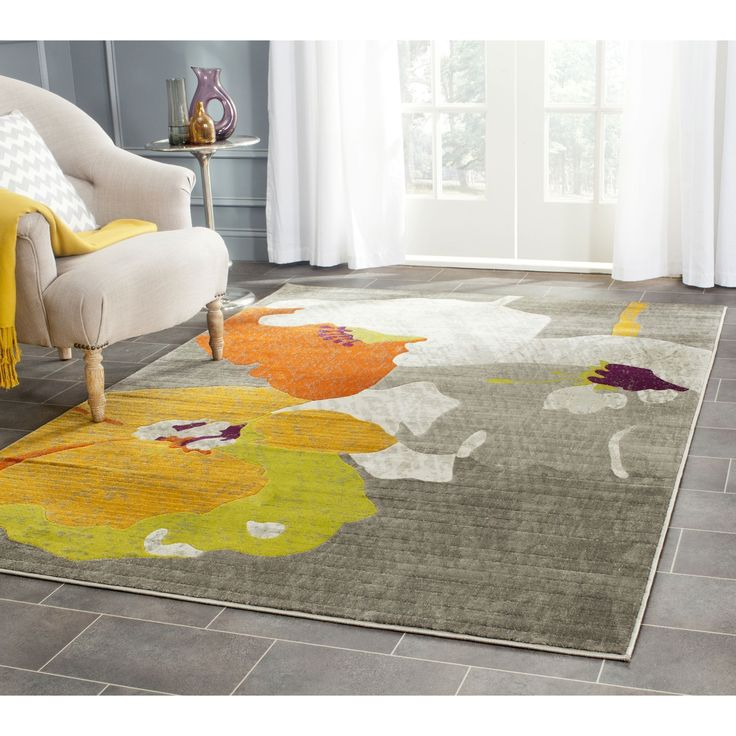 Safavieh Porcello Contemporary Floral Dark Grey Ivory Rug 6 X 9 By