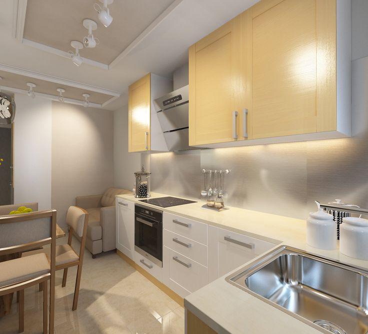 Кухня. Дизайн-проект. Бежевый диван на кухне. Бежевый пол из плитки на кухне. Г-образная столешница.