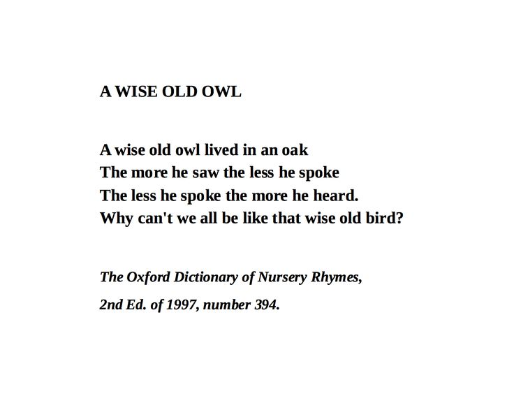 A Wise Old Owl, Oxford Dictionary