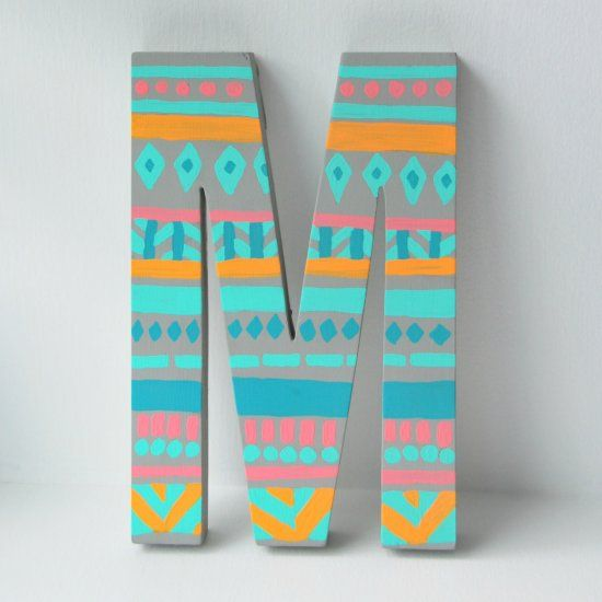 Make this cute tribal-inspired block letter- this would be great for a bedroom door!