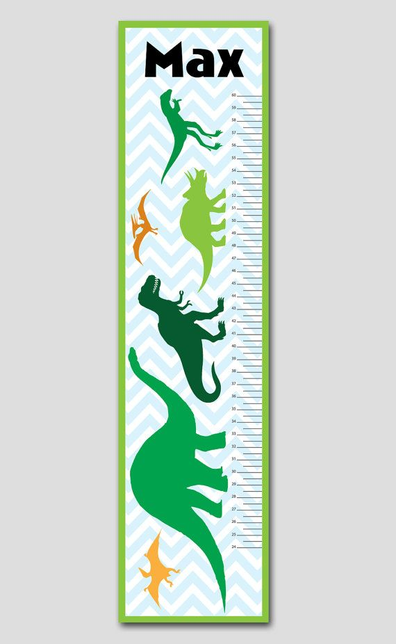 This personalized dinosaur growth chart is perfect for your newborn's nursery, child's bedroom or playroom. Makes a thoughtful gift, coordinates with several popular nursery decor lines and best of all is completely personalized with your child's name.