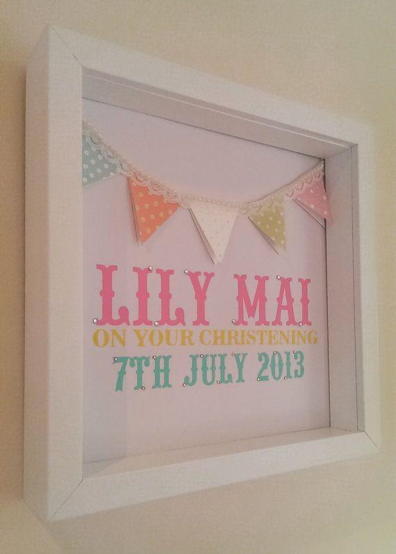 iMake Christening/new baby 3D box art frame on Etsy, £25.00