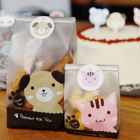 Cookie Packaging Cute Dog Cat Plastic Bags For Biscuits Snack Bakery Food Stand-up Baking Package Plastic Gift Bags With Sticker