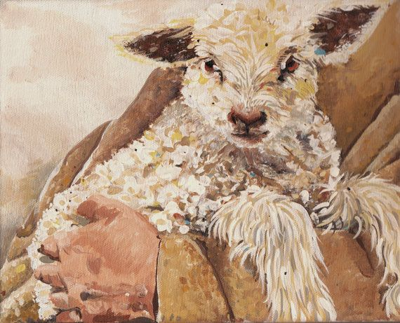 Giclee Fine Art Canvas Sheep Lamb In Shepherd S Arms