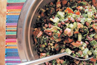 Adzuki Bean Tabouli. From her pantry of nutritional supplies Dr Libby uses adzuki beans in her version of tabouli.