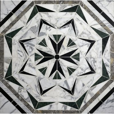 Liaison Laurel mosaic in custom stone blend - made to fit the room in which it's installed. Great for an entryway, master bathroom, or powder room.