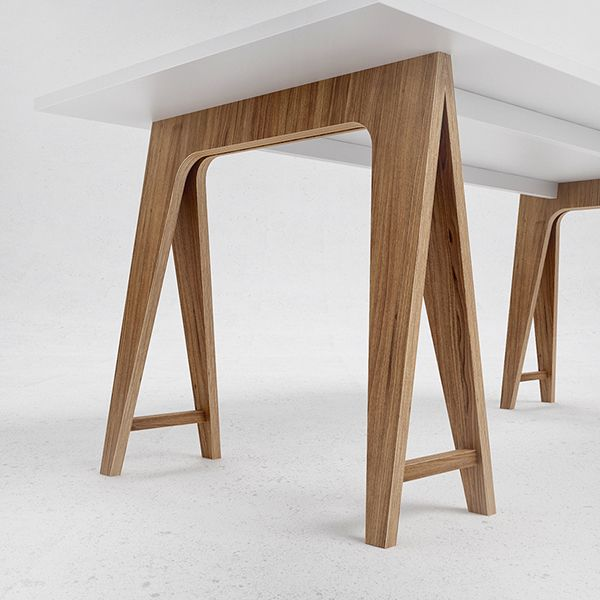 T2 table made of oak veneered plywood and white colored MDF.