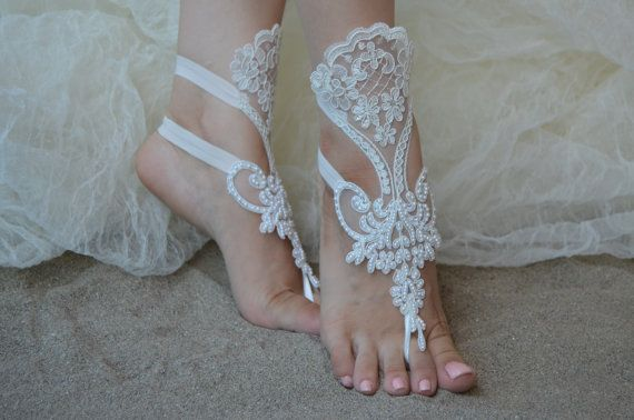 White or Ivory Lace Barefoot Sandals Lace Wedding Shoes Beach Wedding Barefoot Sandals Beach Shoes Beach Sandals France Lace Anklet 3 Colors