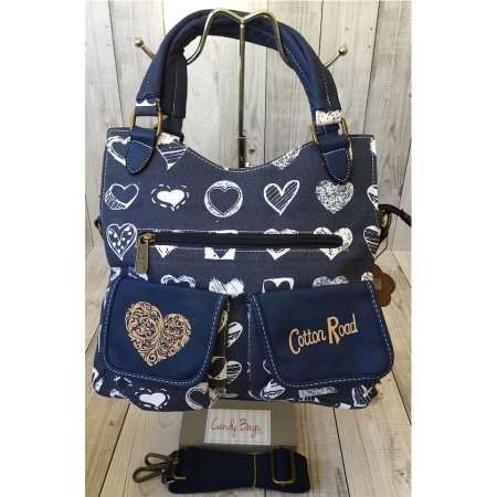 Cotton Road Blue Hearts Double Pocket Leather Pocket Tripple Compartment Handbag