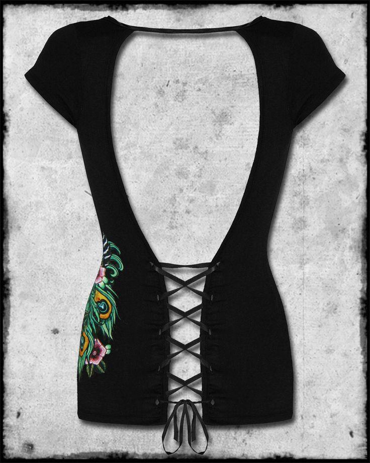 ... Peacock Black Geisha Tattoo Lace Up Corset Open Back T Shirt Top