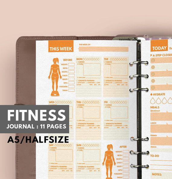 Fitness Journal A5 Filofax A5 insert Fitness von GetWellPlan