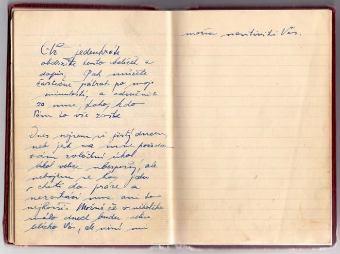 The last page of the diary of Jan Kubiš.